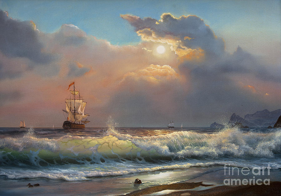 Fine Arts Digital Art - Oil Painting On Canvas  Sailboat by Liliya Kulianionak