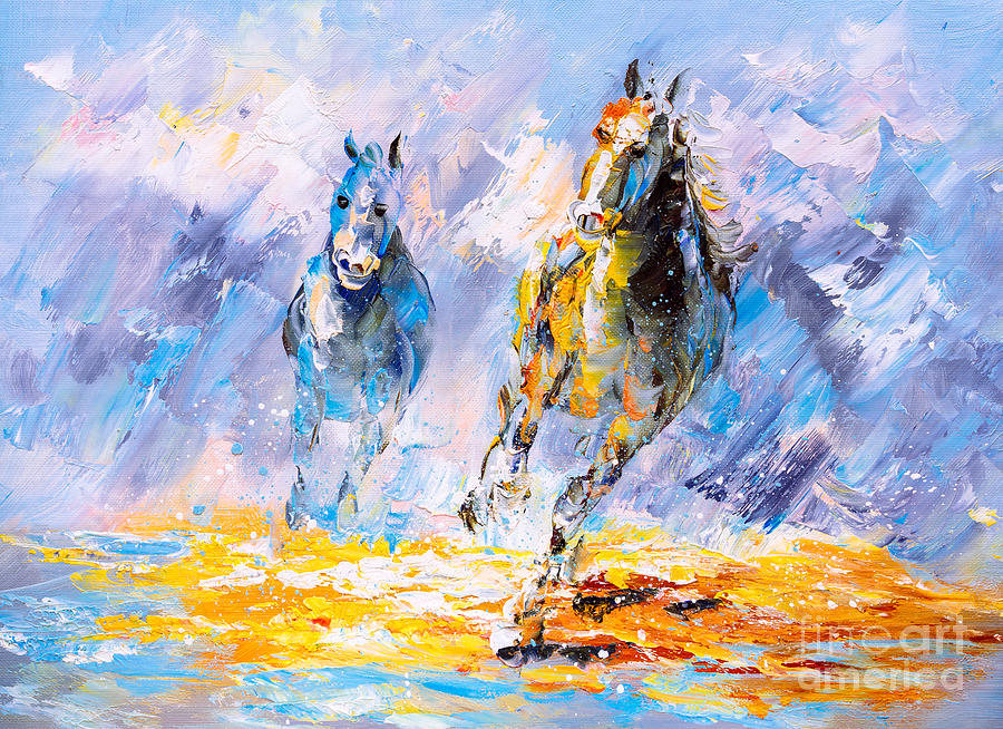 Torn Digital Art - Oil Painting - Running Horse by Cyc