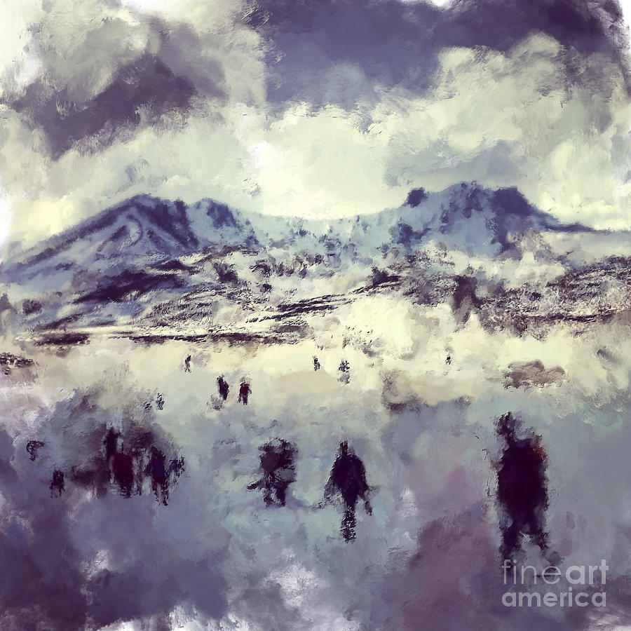 Concept Digital Art - Oil Painting Snowy Mountains by Trentemoller