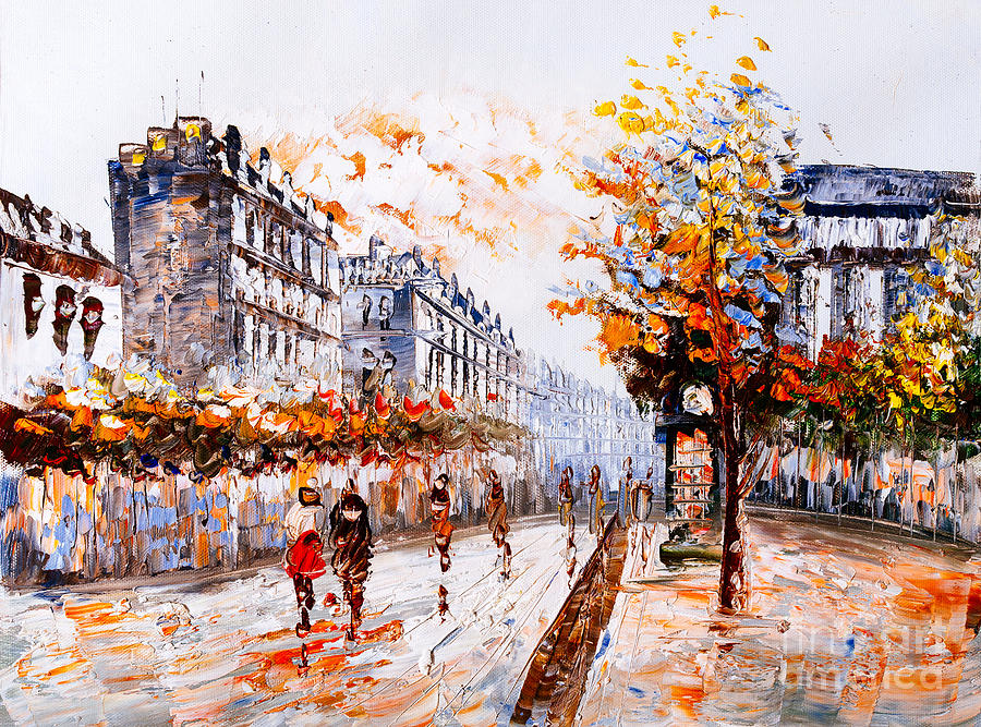 City Photograph - Oil Painting - Street View Of Paris by Cyc