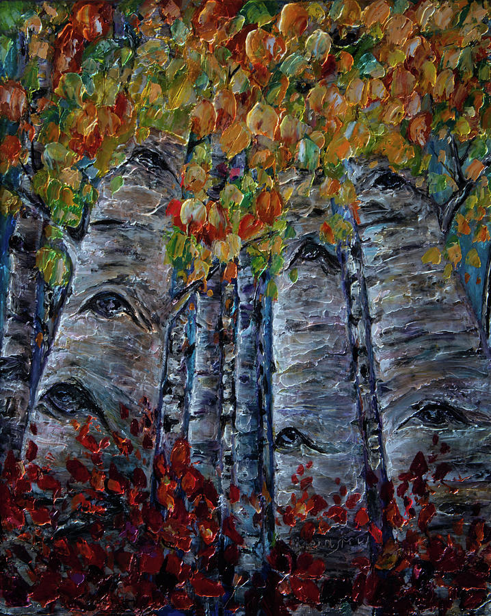 Oil Painting with PALETTE KNIFE original Aspen Trees by OLena Art by OLena Art Brand