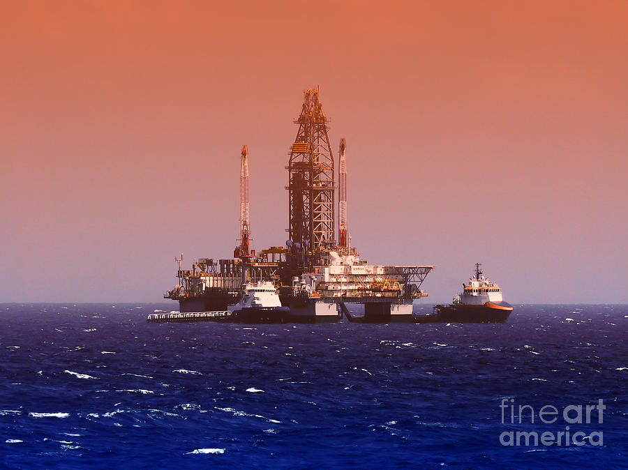 Downturn Photograph - Oil Rig In Gulf Of Mexico Dramatic by Jbutcher