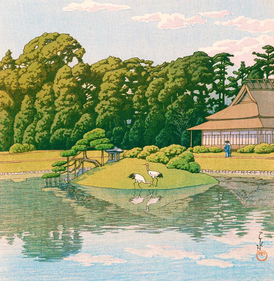 Bird Painting - okayama kourakuen - Top Quality Image Edition by Kawase Hasui