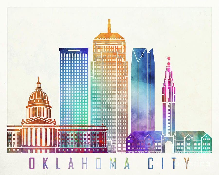 Oklahoma city landmarks watercolor poster by Pablo Romero