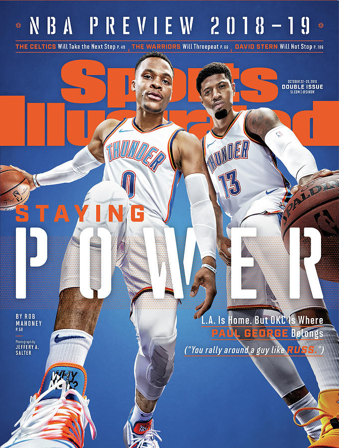 Oklahoma City Thunder Russell Westbrook And Paul George Sports Illustrated Cover Photograph by Sports Illustrated