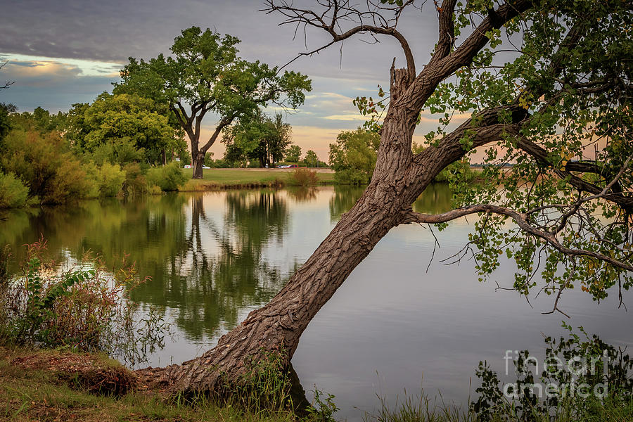 Oklahoma City's Lake Hefner at the days end in early autumn by Richard Smith