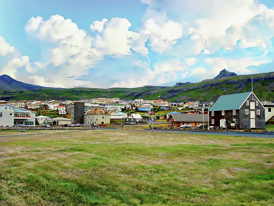 Olafsvik Village Scenic by Anthony Dezenzio