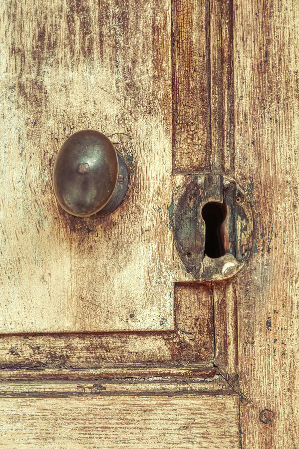 Old 19th Century Doorknob And Keyhole  by Gary Slawsky