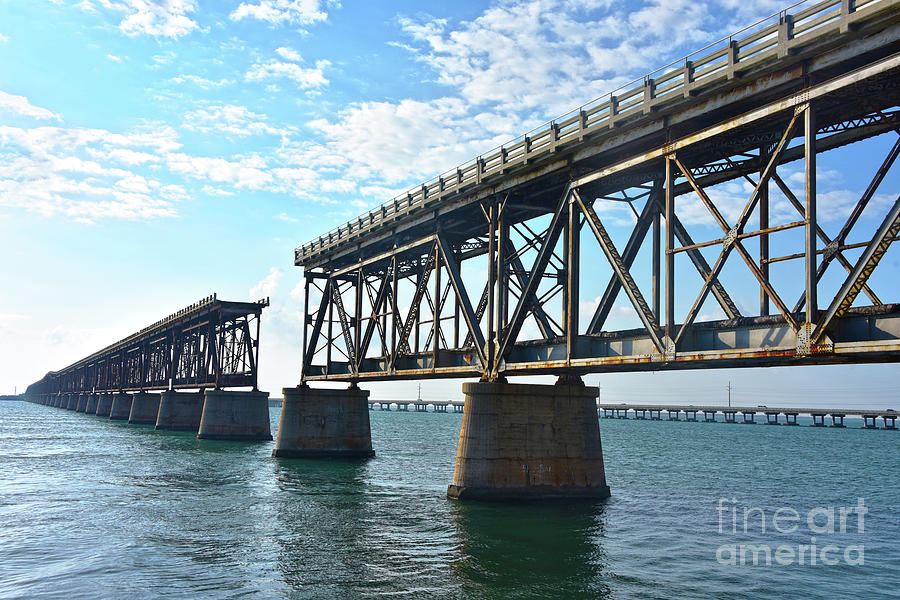 Old and New Bridges in Florida Keys by Catherine Sherman