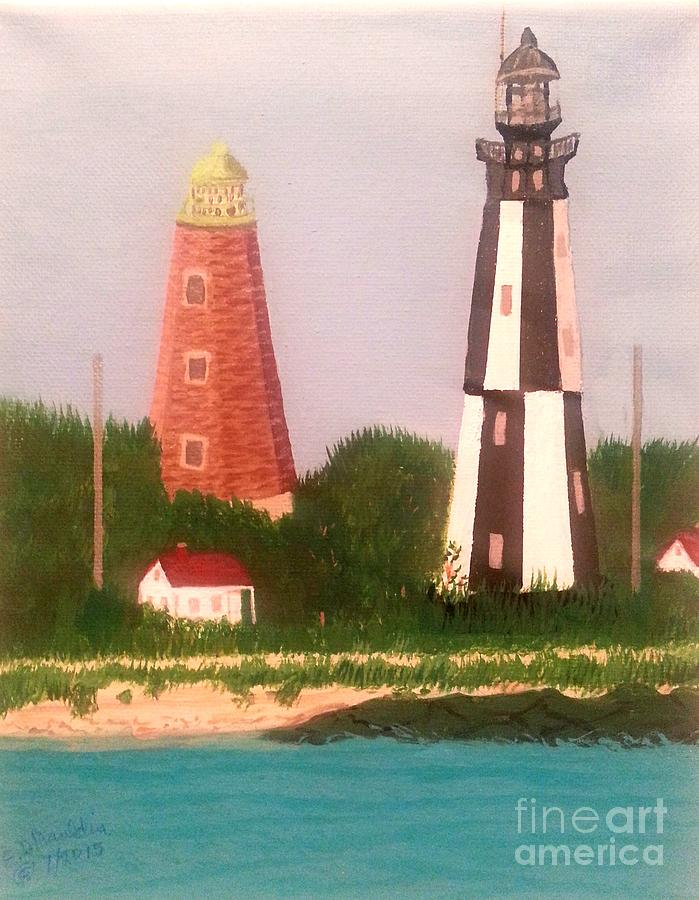 Old and New Cape Henry Lighthouses, Virginia by Elizabeth Dale Mauldin
