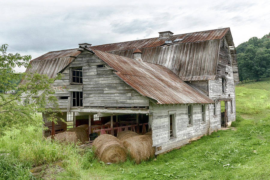 Old Barn and Hay Bales #1311 by Susan Yerry