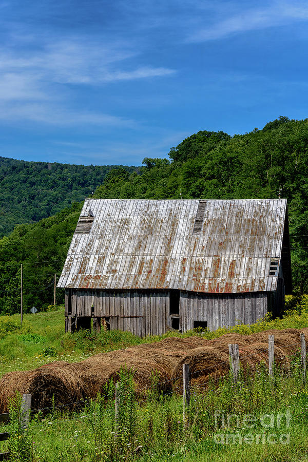 Old Barn and Hay Bales by Thomas R Fletcher
