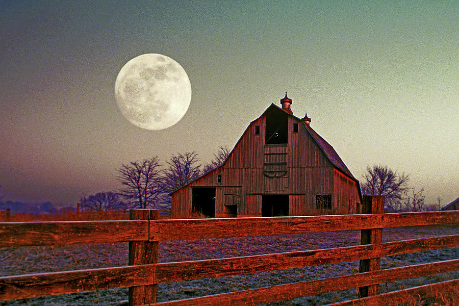 Old Barn And Moon Photograph