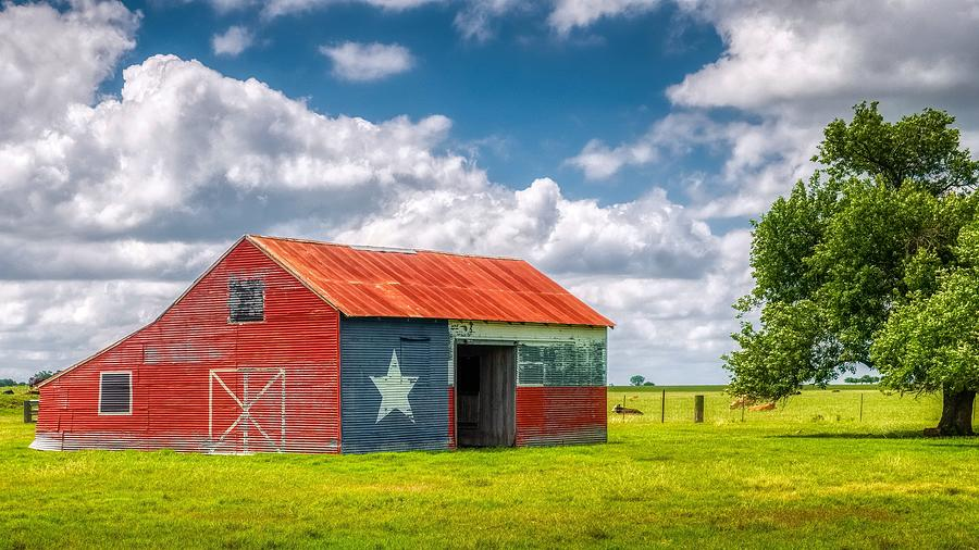 Old Barn with Texas Flag by Philip Duff