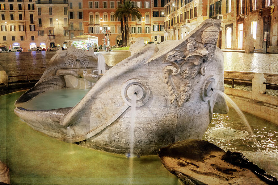 Old Boat Fountain Rome Italy Close Up by Joan Carroll
