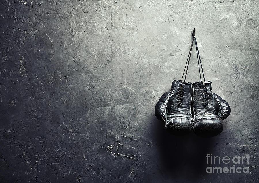 Old Boxing Gloves Nailed Photograph by Viktor gladkov