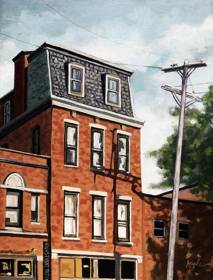 Old Brick Building oil painting  by Linda Apple