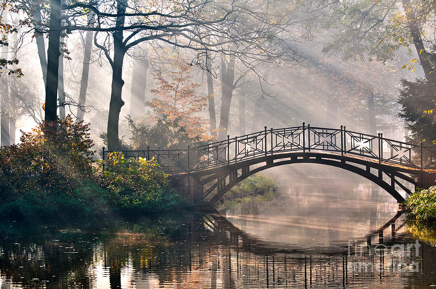 Magic Photograph - Old Bridge In Autumn Misty Park - Hdr by Gorillaimages