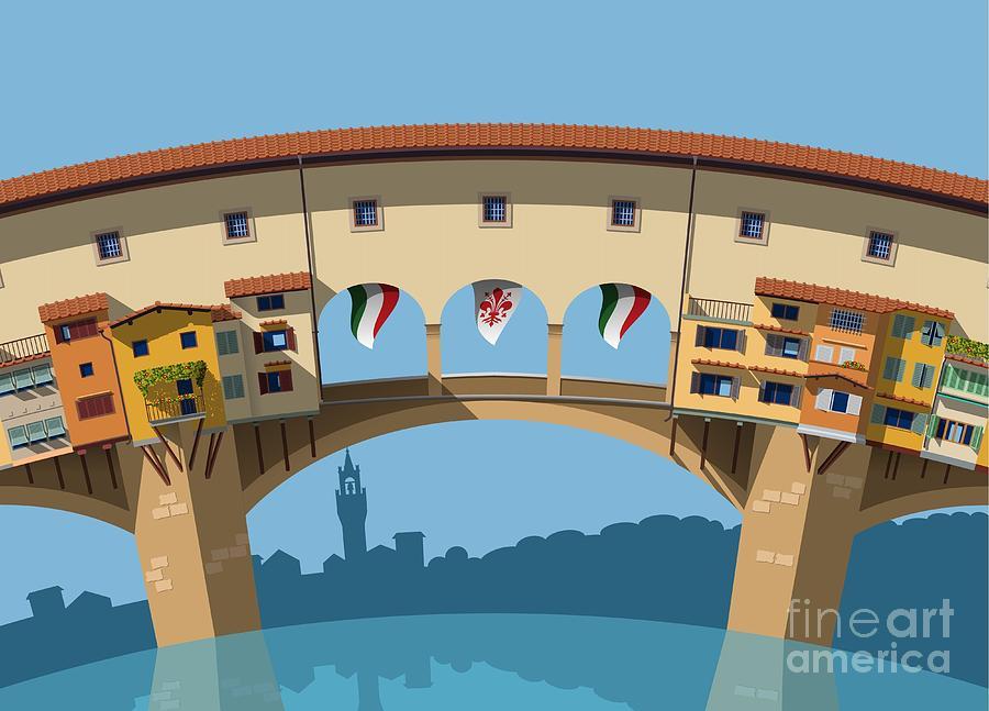 Symbol Digital Art - Old Bridge In Florence Flat Illustration by Nikola Knezevic