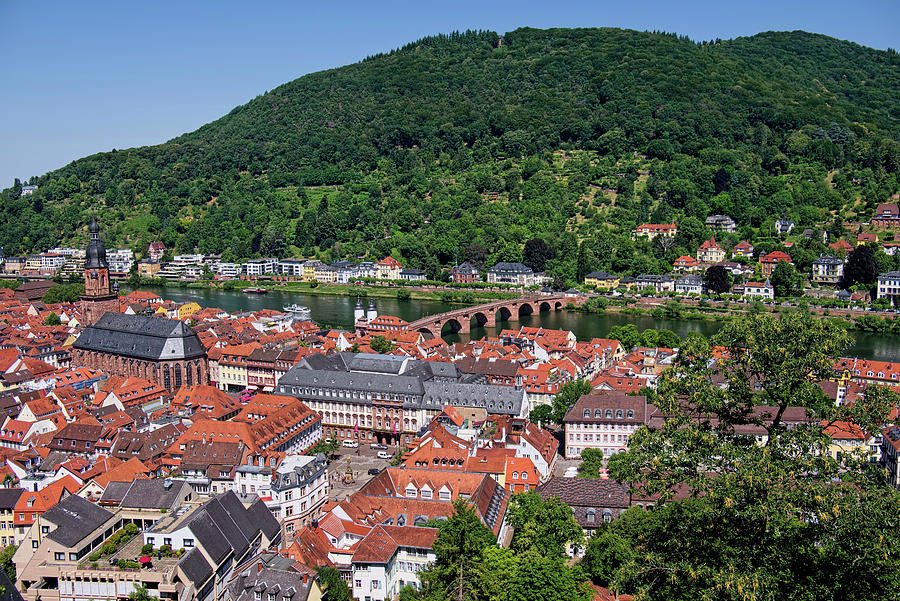 Old Bridge Over The Neckar River In Heidelberg by Lucinda Walter