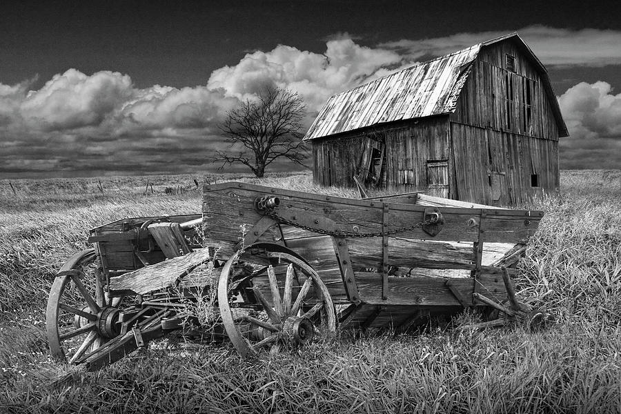 Old Broken Down Wooden Farm Wagon with Barn in Black and White by Randall Nyhof