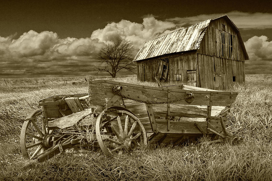 Old Broken Down Wooden Farm Wagon with Barn in Sepia Tone by Randall Nyhof