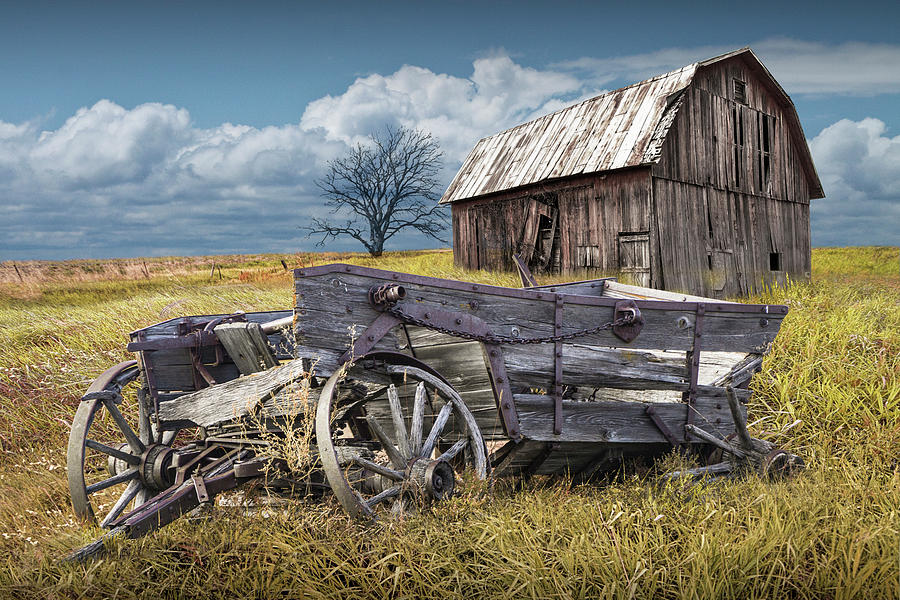 Old Broken Down Wooden Farm Wagon with Barn by Randall Nyhof
