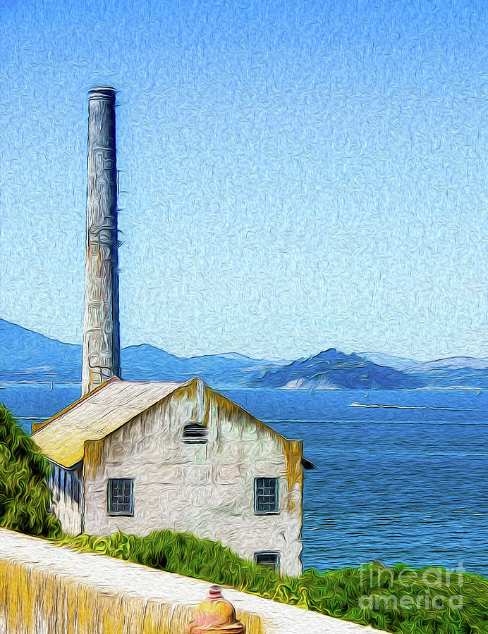 Old Building at Alcatraz Island Prison Digital Art by Kenneth Montgomery