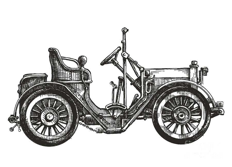 Auto Digital Art - Old Car On A White Background. Sketch by Ava Bitter