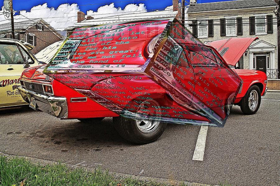 Old car with text as a box by Karl Rose