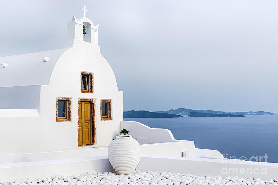 Cyclades Photograph - Old Church In Santorini Island, Greece by Svetlana Ryajentseva