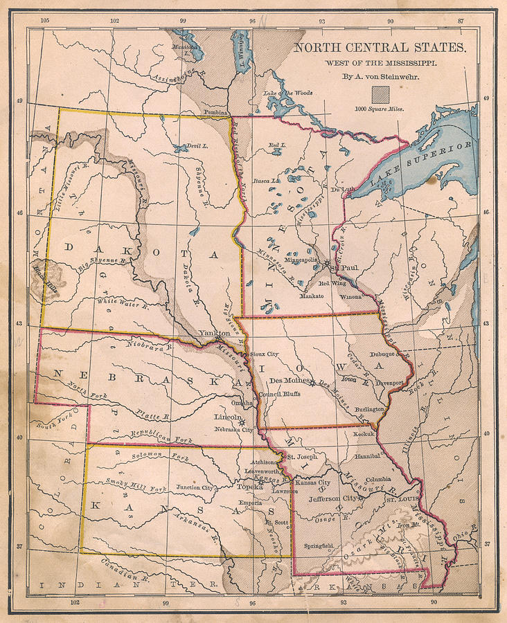 Old, Color Map Of North Central United Photograph by Ideabug