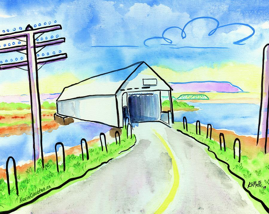 Nova Scotia Painting - Old Covered Bridge - Avonport N.s. by Kevin Cameron