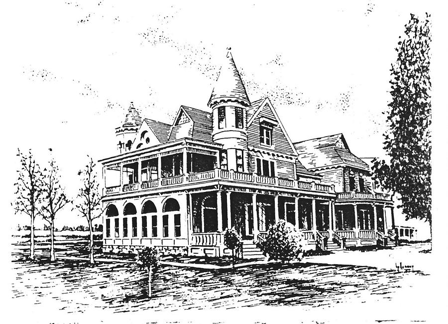 Hamilton Drawing - Old Daly Mansion Hamilton Montana by Kevin Heaney