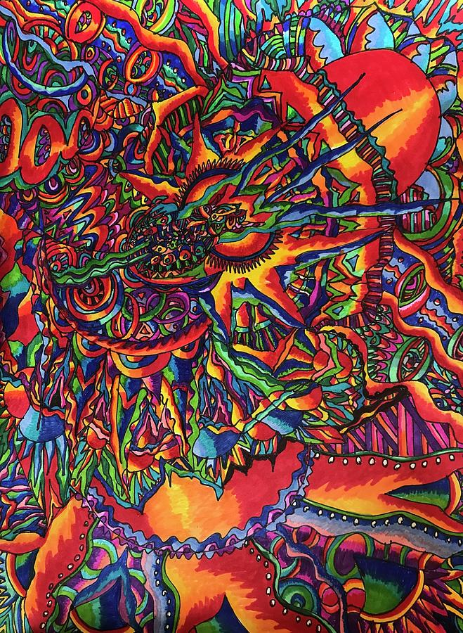 Sharpie Marker Drawing - One thought Leads to Another by Ali Bailey