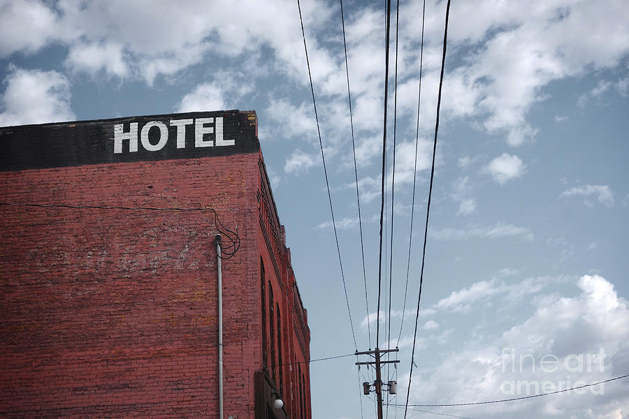 City Photograph - Old Dilapidated Brick Motel With Cloudy by J.d.s