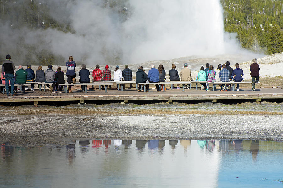 Old Faithful Geyser Reflections by Bruce Gourley