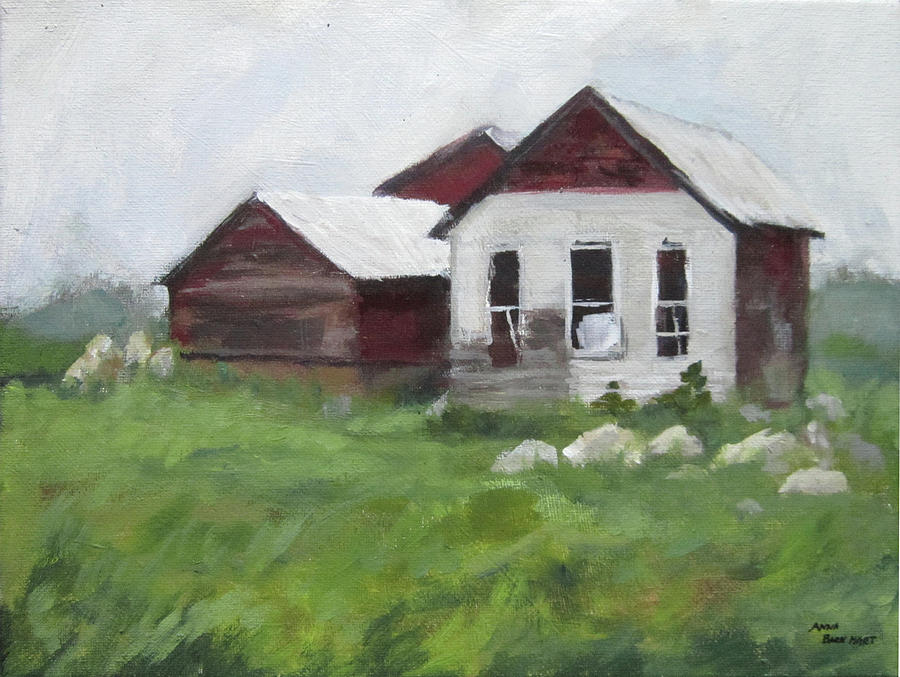 Landscape Painting - Old Farm Buildings by Anna Barnhart