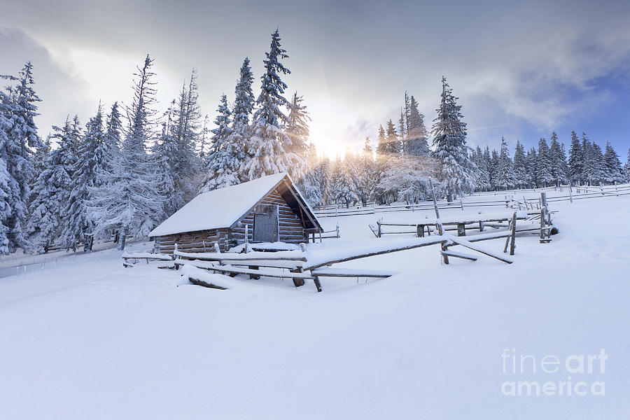 Chill Photograph - Old Farm In The Mountains At Winter by Andrew Mayovskyy