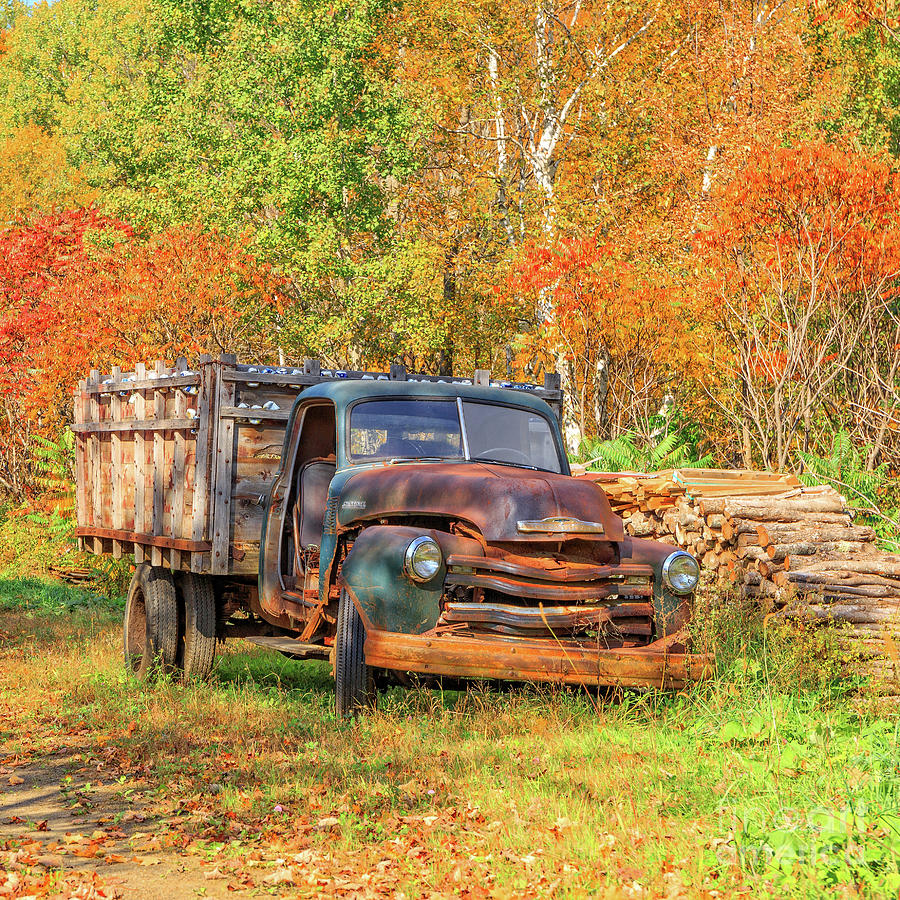Vermont Photograph - Old Farm Truck Fall Foliage Vermont Square by Edward Fielding