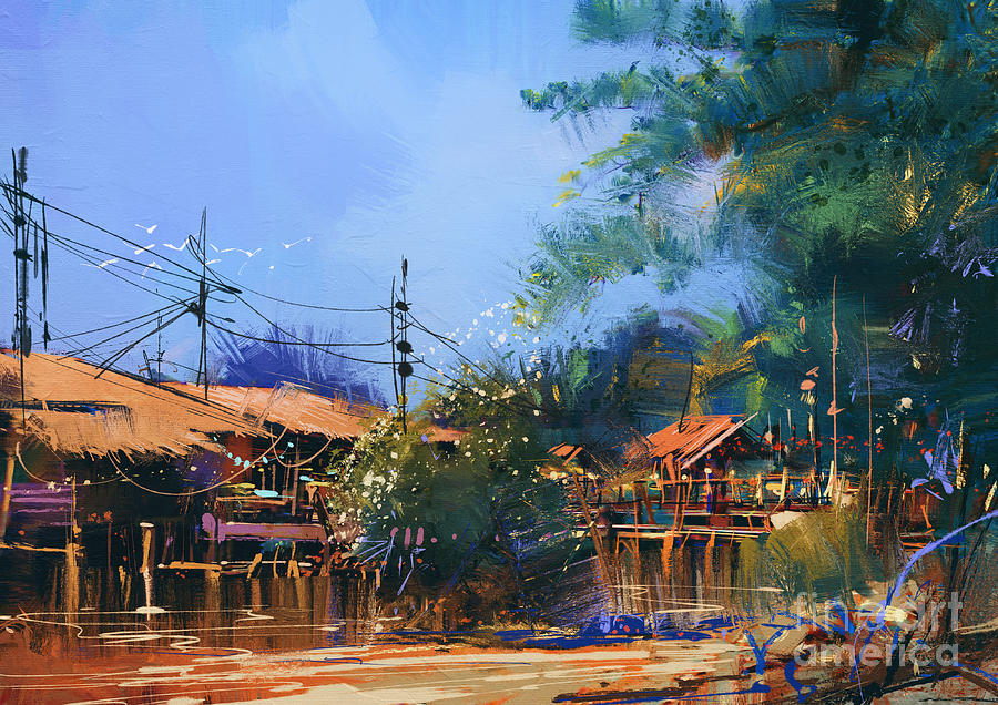 Concept Digital Art - Old Fishing Village,oil Painting by Tithi Luadthong