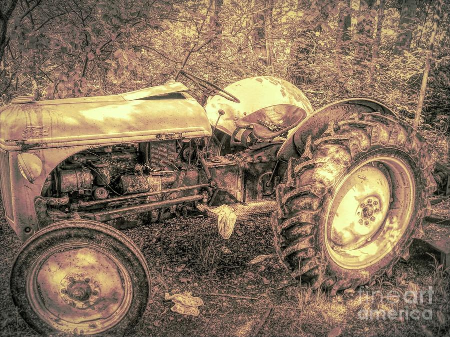Old Ford 8n Tractor with Spotlight Sepia Effect by Rose Santuci-Sofranko