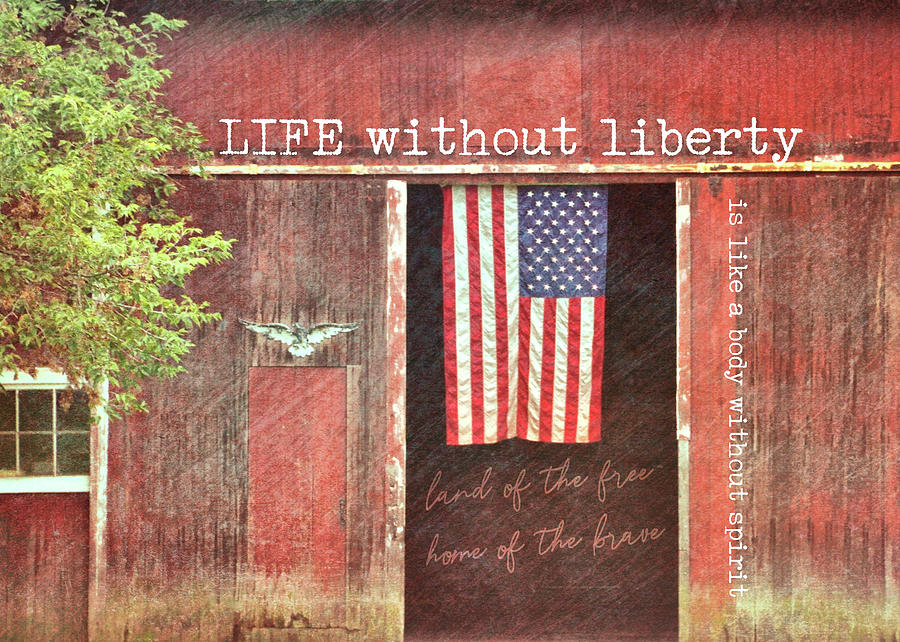 Barn Photograph - Old Glory Quote by JAMART Photography