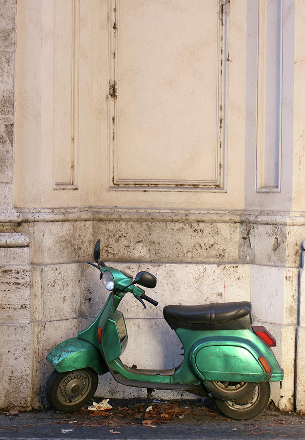 Old Green Scooter Parked In Rome, Italy Photograph by Romaoslo