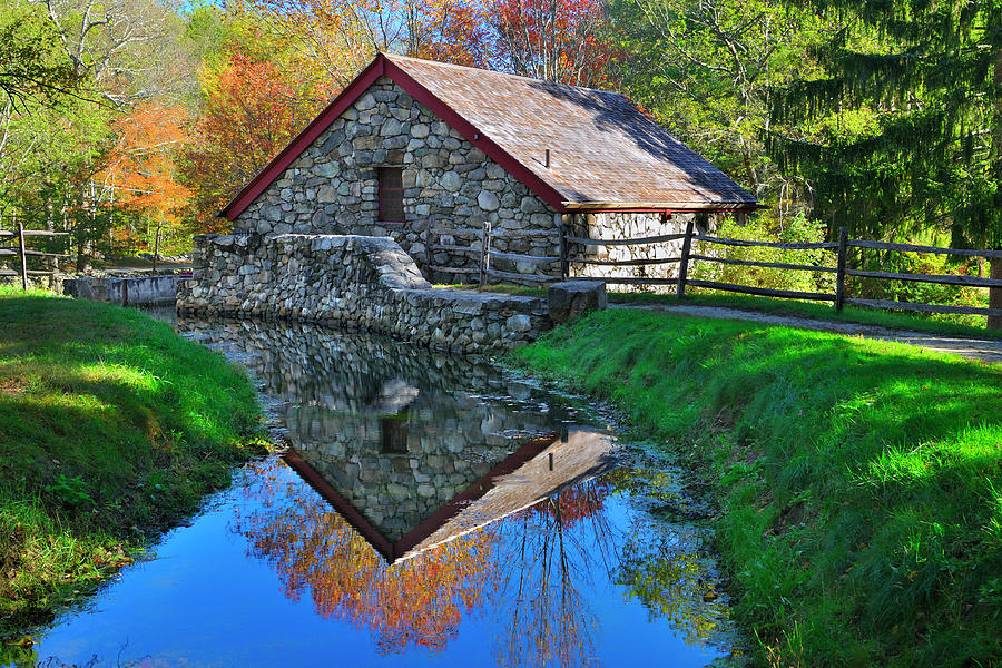 Grist Mill Photograph - Old Grist Mill Autumn Reflection by Luke Moore