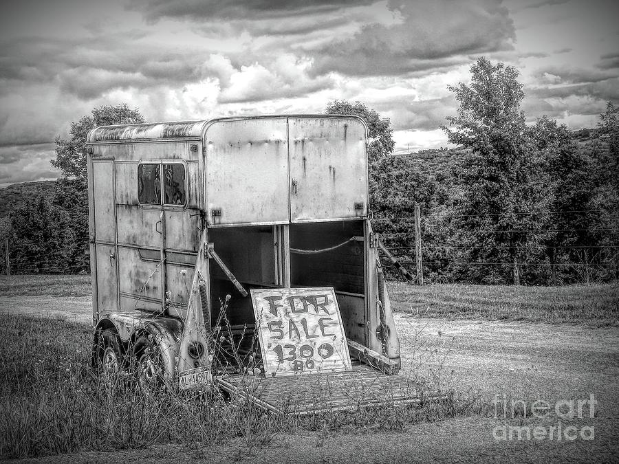 Old Horse Trailer for Sale in WNY Dramatic Black and White Effect by Rose Santuci-Sofranko