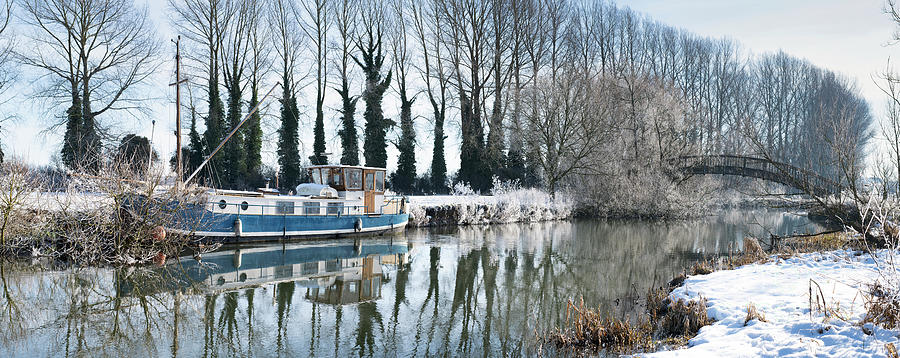 Old Wooden Bridge Photograph - Old House Boat On The River Thames In Winter by Tim Gainey