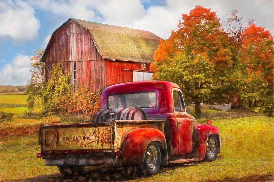 Old International Pickup Truck Oil Painting by Debra and Dave Vanderlaan