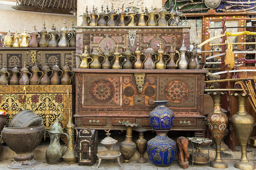 Old Items On Sale In Waqif Souk Photograph by Buena Vista Images