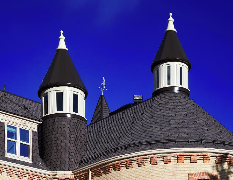 Old Main, University of Utah spires against a blue sky, Logan Utah by TL Mair